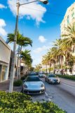Luxury cars and buildings in Miracle Mile. Miami. Southern Florida, USA stock images