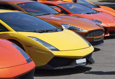 Luxury Cars. The row of luxury sports cars parked in Sydney (New South Wales Stock Images