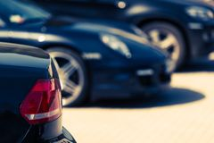 Luxury Cars For Sale. Concept Photo. Car Dealer Lot. Parked Cars Royalty Free Stock Photography