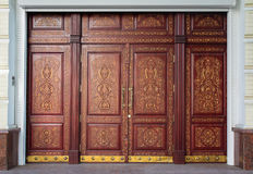 Luxury carved door in oriental style Stock Images