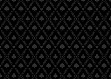 Luxury casino gambling poker background pattern with card symbols. Black seamless casino gambling poker background or damask pattern and cards symbols Royalty Free Stock Photography