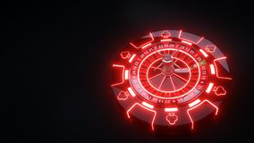 Luxury Casino Gambling Roulette Wheel and Chips With Neon Lights - 3D Illustration royalty free illustration