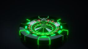 Luxury Casino Gambling Roulette Wheel and Chips With Neon Lights - 3D Illustration vector illustration