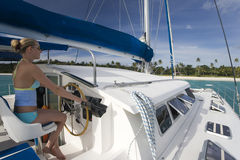 Luxury catamaran - South Pacific Stock Photos