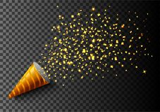 Luxury Celebrations background with falling pieces of metallic gold glitter and confetti. Illustration of Luxury Celebrations background with falling pieces of Stock Photography
