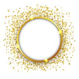 Luxury Celebrations background with falling pieces of metallic gold glitter and confetti. Illustration of Luxury Celebrations background with falling pieces of Royalty Free Stock Photo