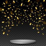 Luxury Celebrations background with falling pieces of metallic gold glitter and confetti. Illustration of Luxury Celebrations background with falling pieces of Stock Image