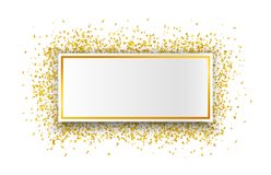 Luxury Celebrations background with falling pieces of metallic gold glitter and confetti. Illustration of Luxury Celebrations background with falling pieces of Royalty Free Stock Photos