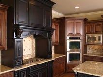 Luxury center island Kitchen burners & oven stock image