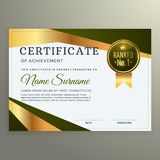 Luxury certificate template design in geometric shape style. Vector Stock Photography