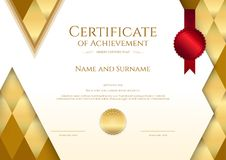 Luxury certificate template with elegant border frame, Diploma d Royalty Free Stock Photos