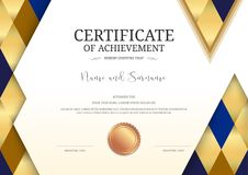Luxury certificate template with elegant border frame, Diploma d. Esign for graduation or completion stock illustration