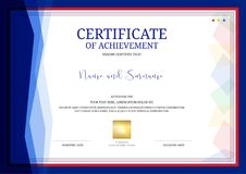 Luxury certificate template with elegant border frame, Diploma d. Esign for graduation or completion royalty free illustration