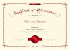 Luxury certificate template with elegant border frame, Diploma design Stock Images