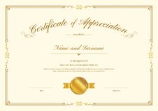 Luxury certificate template with elegant border frame, Diploma design. For graduation or completion stock illustration