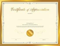 Luxury certificate template with elegant border frame stock illustration