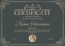 Luxury certificate template with elegant border frame, Diploma design for graduation or completion stock illustration