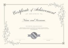 Luxury certificate template with elegant border frame, Diploma d Royalty Free Stock Image