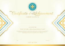 Luxury certificate template with elegant border frame, Diploma design. For graduation or completion vector illustration