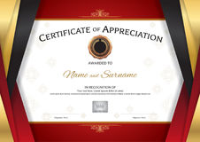 Luxury certificate template with elegant golden red border frame Royalty Free Stock Photos