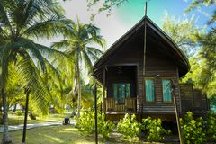 The luxury chalets at the Reef Dive Resort, located at Mataking Island stock photo