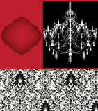 Luxury chandelier on damask background Stock Images