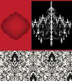 Luxury chandelier on damask background Stock Images