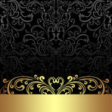 Luxury charcoal Background with golden floral Border. Royalty Free Stock Photography