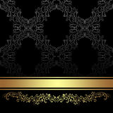 Luxury charcoal Background with golden floral Border and Ribbon. Luxury charcoal Background with golden floral Border and Ribbon is presented Royalty Free Stock Image