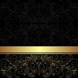 Luxury charcoal Background with golden lacy Border. stock illustration