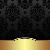 Luxury charcoal damask Background with golden Border. Luxury charcoal damask Background with golden Border is presented Stock Photos