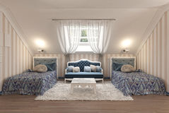 Luxury children's bedroom for two kids with twin beds. Royalty Free Stock Photography