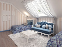 Luxury children's bedroom for two kids with twin beds. Royalty Free Stock Photos