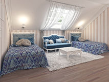 Luxury children's bedroom for two kids with twin beds. Stock Photos