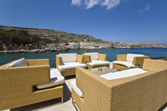 Luxury chill out summer bar at Rhodes. Island, Greece Stock Photo
