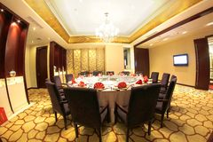 Luxury Chinese style restaurant interior Royalty Free Stock Photos