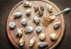 Luxury chocolate candies in the form of seafood Stock Photos