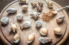 Luxury chocolate candies in the form of seafood Royalty Free Stock Photography