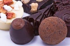 Luxury chocolate macro. Macro of luxury mixed chocolates Royalty Free Stock Photography