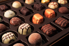 Luxury chocolates. With shallow depth of field Royalty Free Stock Photography