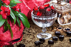 Luxury chocolates in a still life with gold casket Stock Photography