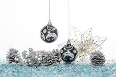 Luxury Christmas ball and flower with Pine Cone Royalty Free Stock Image