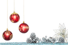 Luxury Christmas ball, flower and Pine Cone, hanging Decoration Royalty Free Stock Images