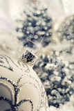 Luxury Christmas ball with ornaments in Christmas Snowy Landscape. Royalty Free Stock Photos