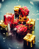 Luxury Christmas Card with Red Golden Gift Boxes Royalty Free Stock Image