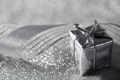 Luxury christmas gift in silver Stock Image