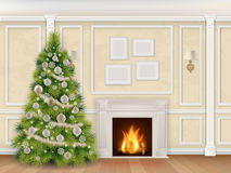 Luxury christmas interior with fireplace. Luxury interior wall with christmas tree fireplace and pilasters. Vector realistic illustration. Indoor background Royalty Free Stock Photography