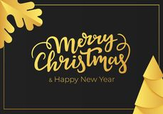 Luxury Christmas and New Year greeting card with gold foil decorations on the background of a black luxe paper.  stock illustration