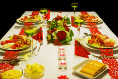 Luxury Christmas table with lobster Stock Image