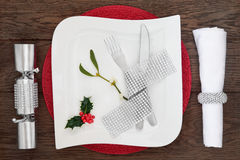 Luxury Christmas Table Setting Royalty Free Stock Image